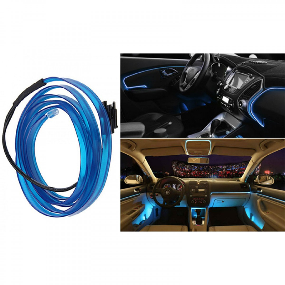 Εύκαμπτο LED καλώδιο 2m για την εσωτερική διακόσμηση κάθε αυτοκινήτου - El wire- ΜΠΛΕ