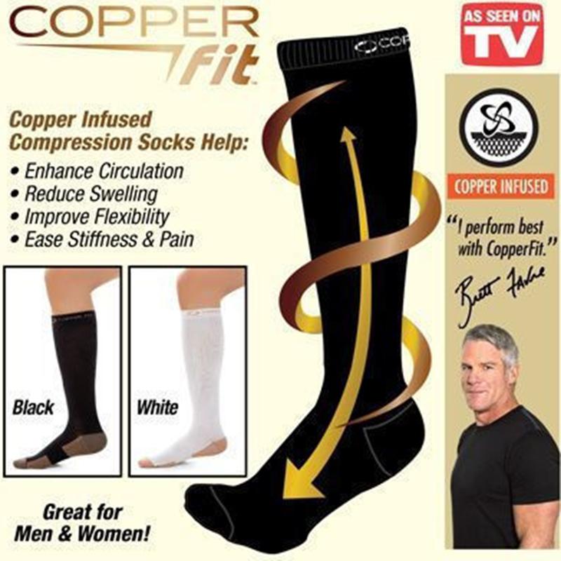 Κάλτσες Συμπίεσης Copper Fit Unisex Compression Socks On-15933 ΣΕ ΜΑΥΡΟ ΧΡΩΜΑ