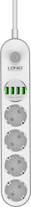 Αντιολισθητικό Πολύπριζο Ασφαλείας Σούκο 4 Θέσεων με 4 Θύρες USB 3.4A LDNIO se4432