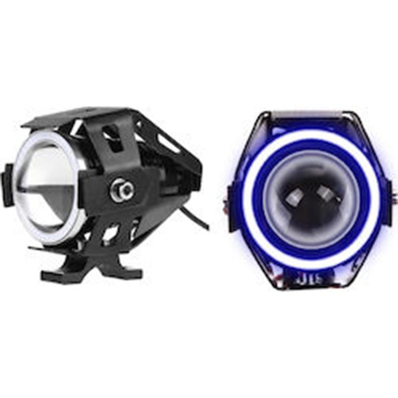 Αδιάβροχος προβολέας μοτοσυκλέτας Cree LED U7 με μπλέ φώς στεφάνης OEM
