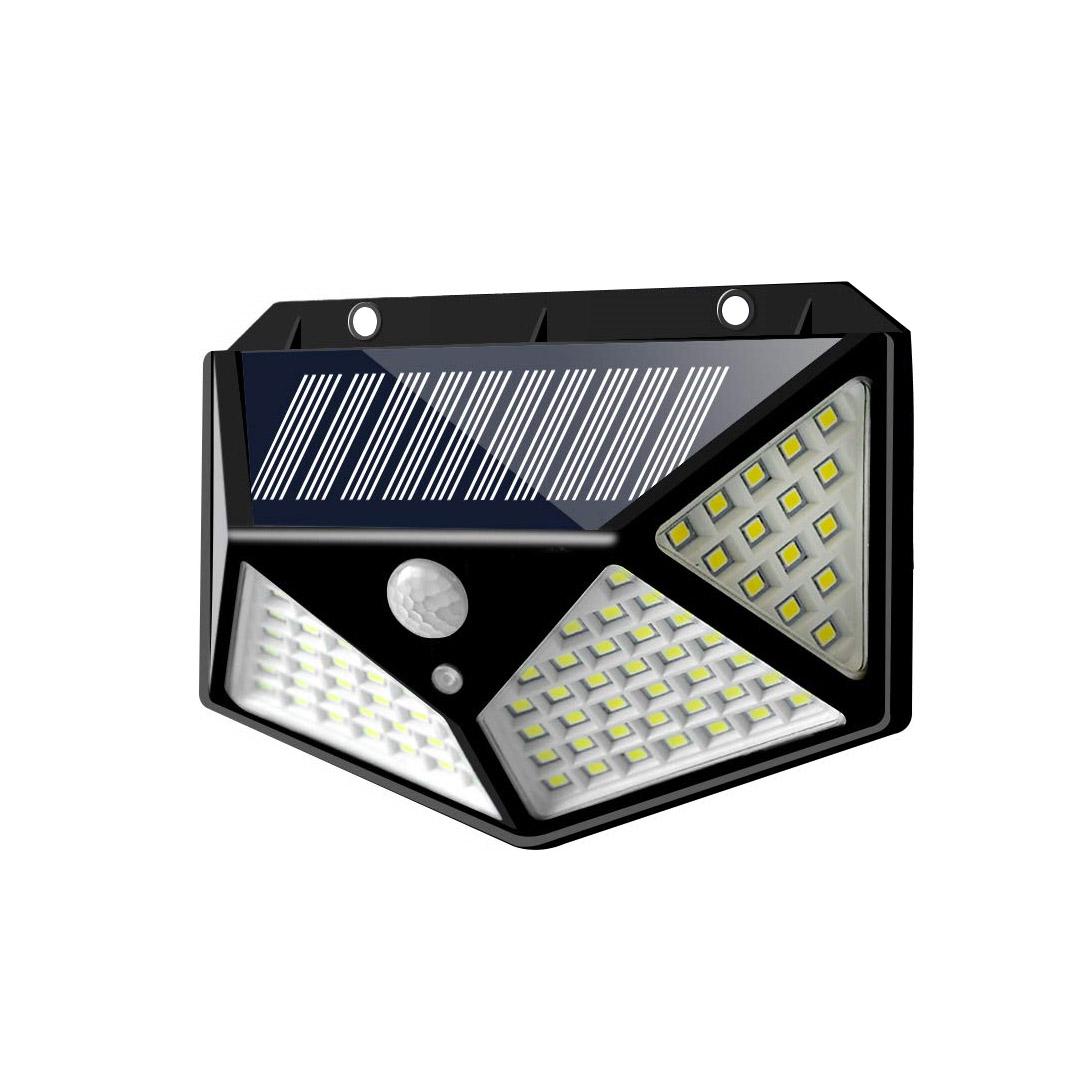 LED τριών όψεων solar εξωτερικού χώρου με ηλιακό panel και αισθητήρα κίνησης 1W 100 SMD 5.5V 600LM 1 τεμ. IP65