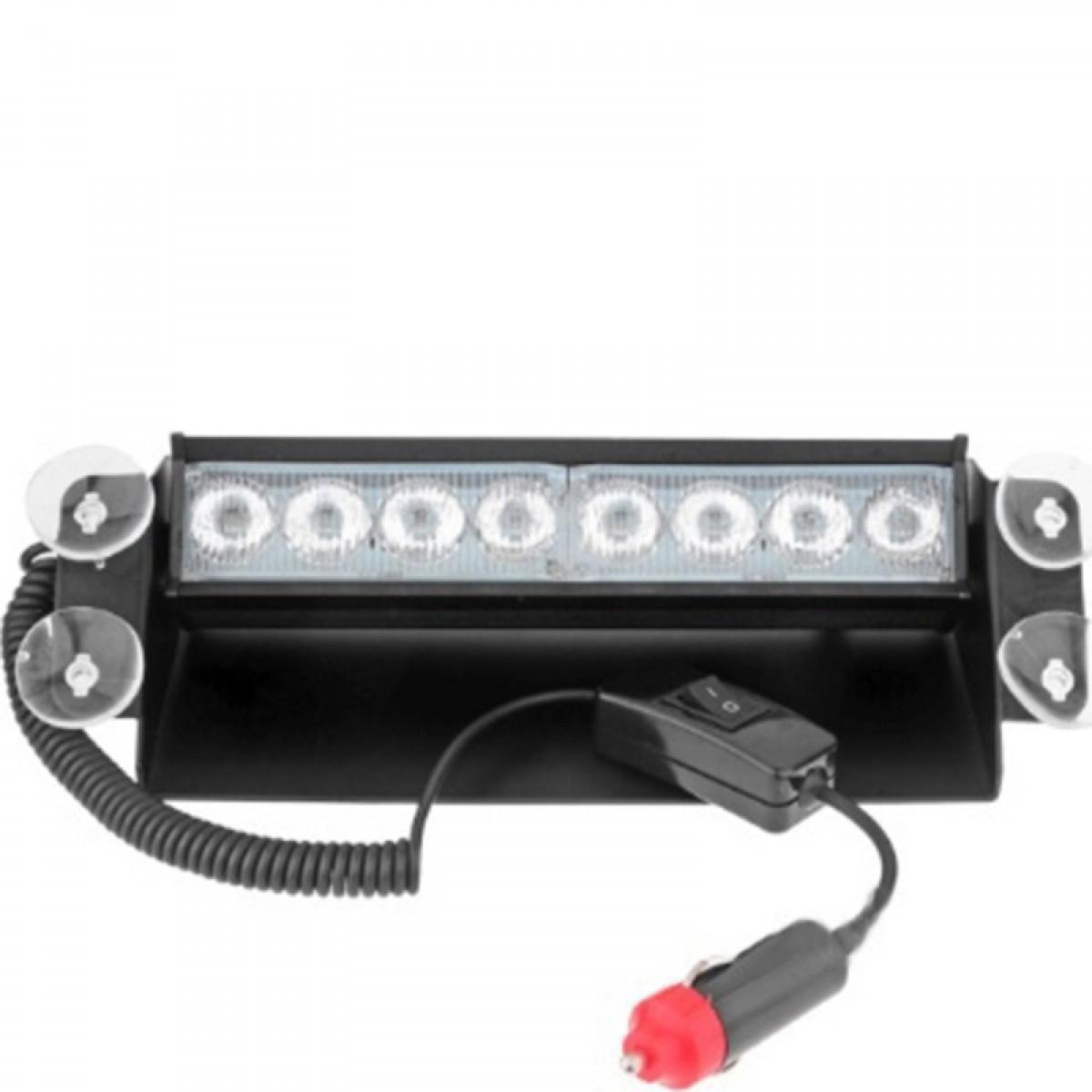 Φακός με 8 LED 8W Αυτοκινήτου με Βεντούζες για τοποθέτηση στο τζάμι και 3 διαφορετικές λειτουργίες φλας σε κόκκινο μπλέ χρώμα