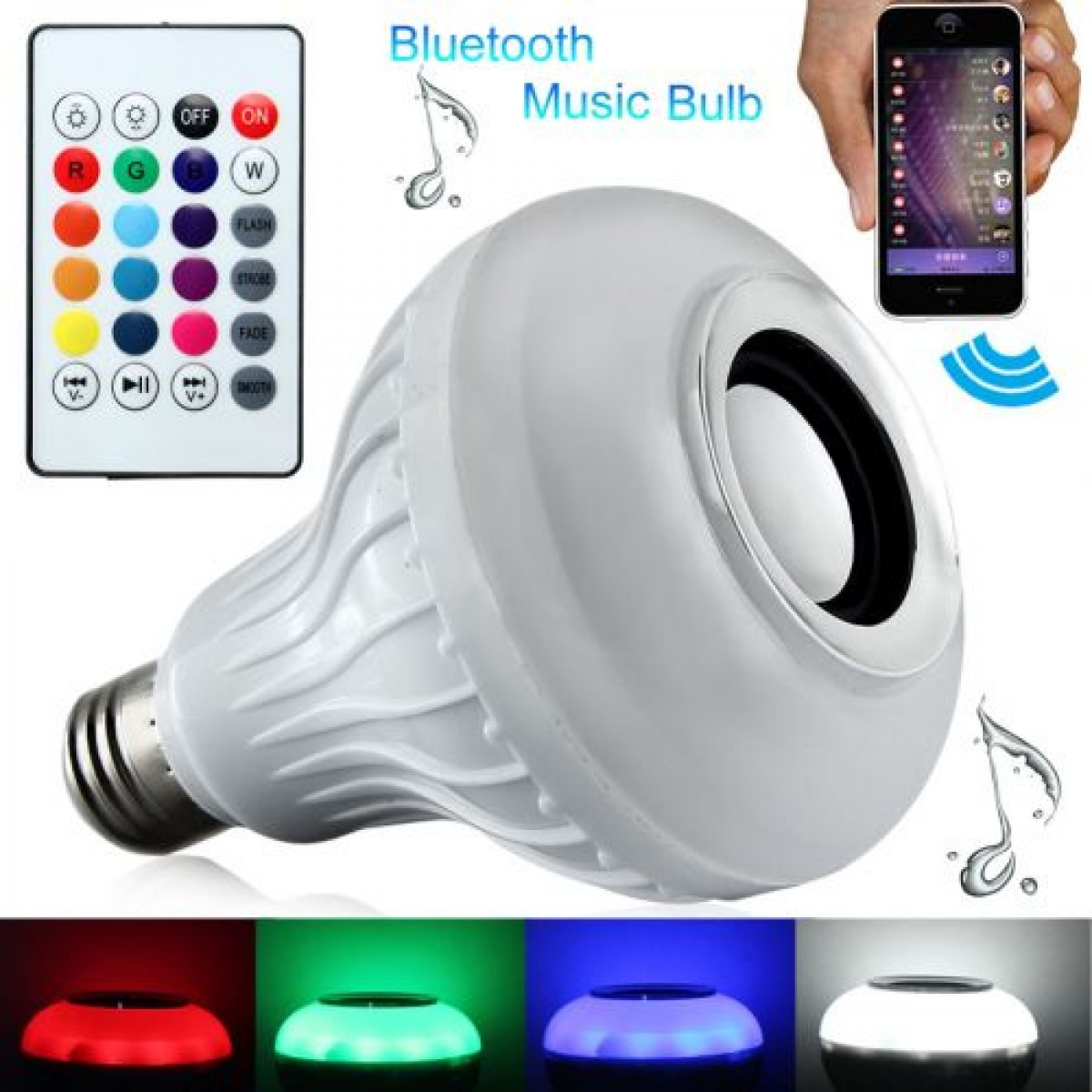 Λάμπα LED E27 με Ηχείο Bluetooth και Ασύρματο Χειριστήριο Globostar RGBW - Wireless HI LED Λάμπα E27 Bluetooth με Ηχείο και Χειριστήριο Globostar RGBW - RGB Hi LED Wireless Bluetooth Control Smart Bulb Music Audio Speaker Ligh