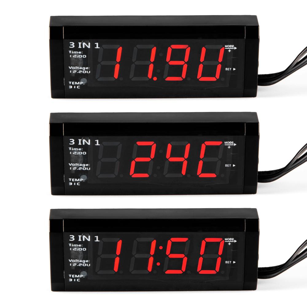 Ψηφιακό ρολόι με Βολτόμετρο-Θερμόμετρο Αυτοκινήτου WF-518 3 σε 1