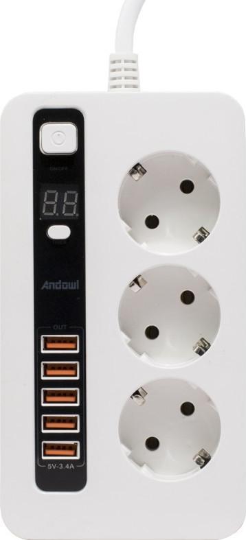 ANDOWL ΠΟΛΥΜΠΡΙΖΟ ΜΕ 3 ΘΕΣΕΙΣ ΣΟΥΚΟ ΚΑΙ 5 USB ΜΕ ΧΡΟΝΟΔΙΑΚΟΠΤΗ Q-688