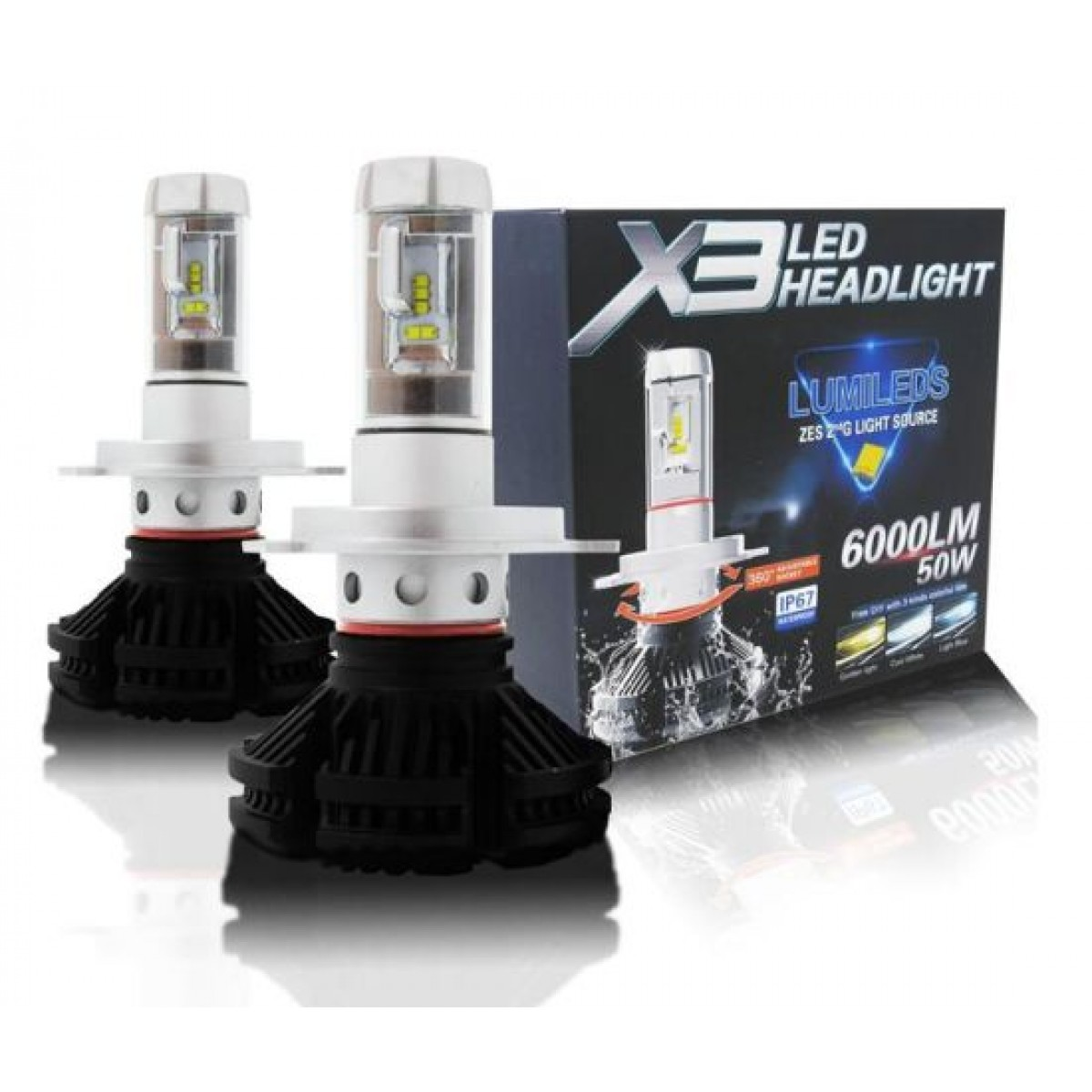 LED φώτα αυτοκινήτου H1, 50W, 6000L 6500K – X3 Led headlights Lumileds